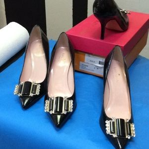 Kate spade patent pump new with embellished toe